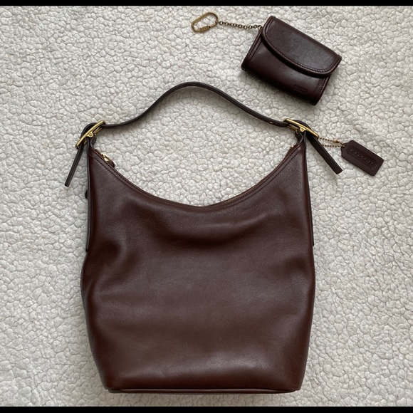 Coach Handbags - Vintage Coach Brown Leather Purse and Mini wallet